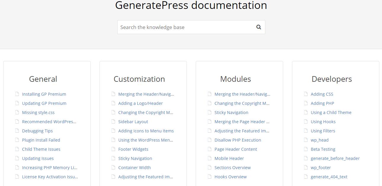 generatepress documentation