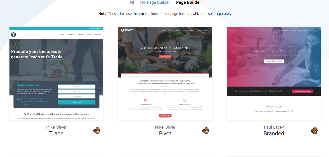 generatepress theme with a page builder