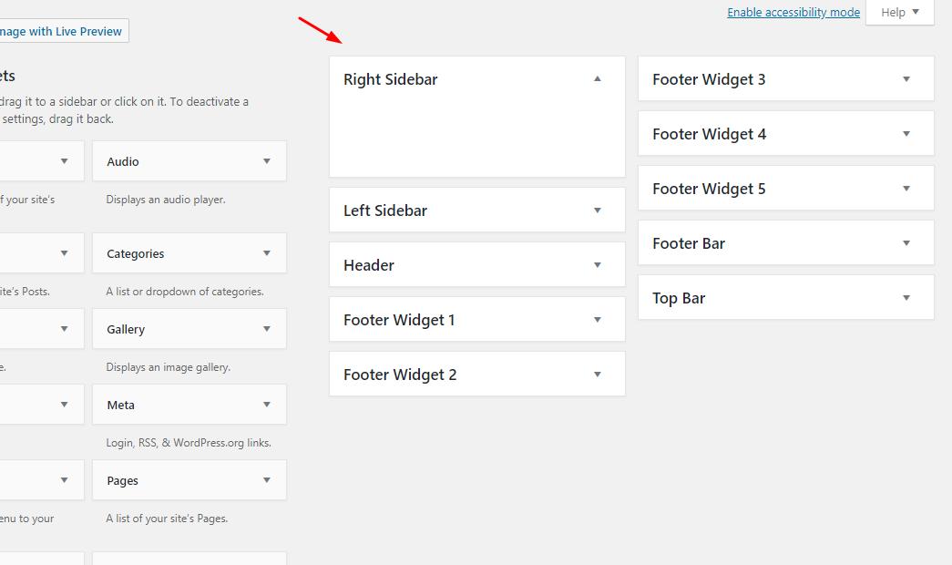 generatepress widget arreas
