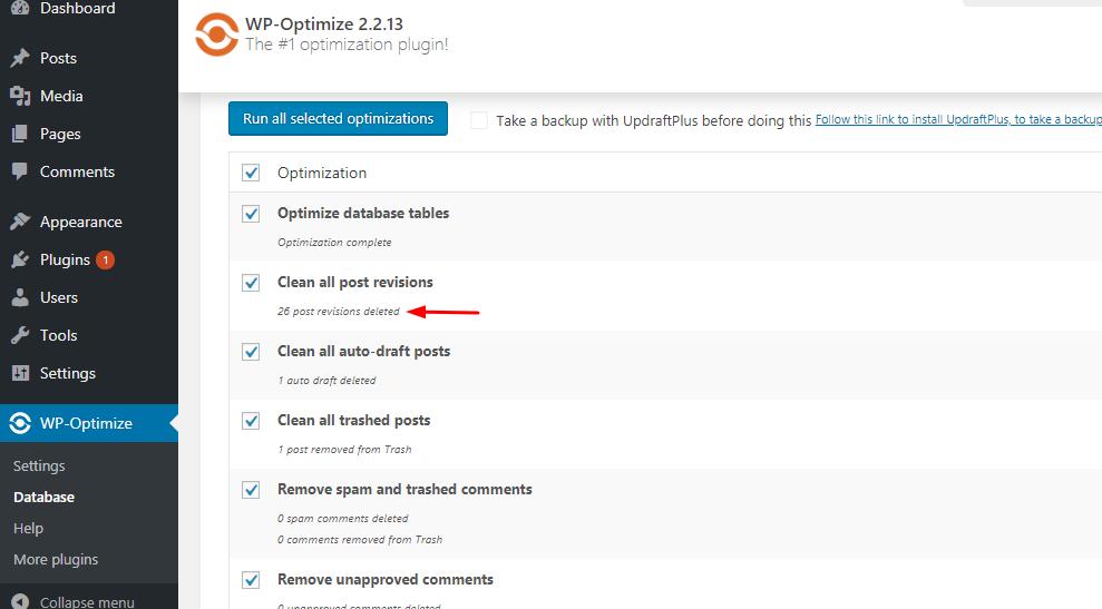 wordpress data base optimized