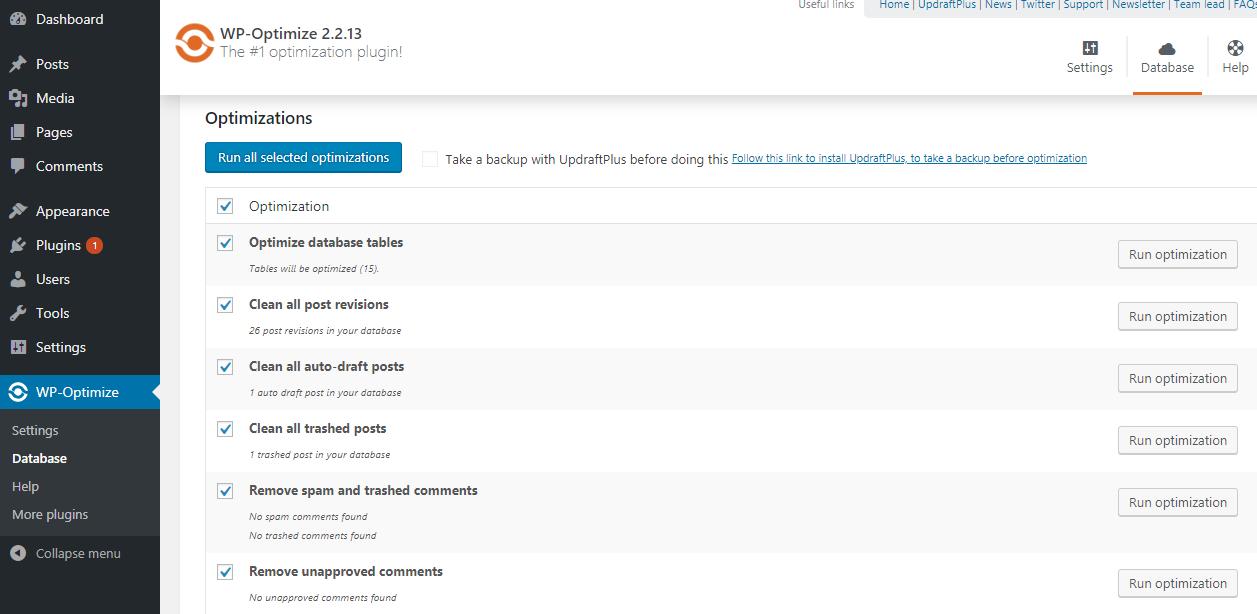 wp optimize plugin settings